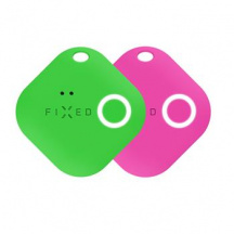 Sledovací Bluetooth přívěsek FIXED Key Finder Smile s motion senzorem DUO PACK, Zelená + Růžová