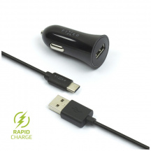 Autonabíjačka Fixed Car Charger Kit s USB-C káblom, Čierna