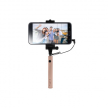 Kompaktný Selfie Stick FIXED Snap Mini, spúšť cez 3,5mm jack, Rose Gold